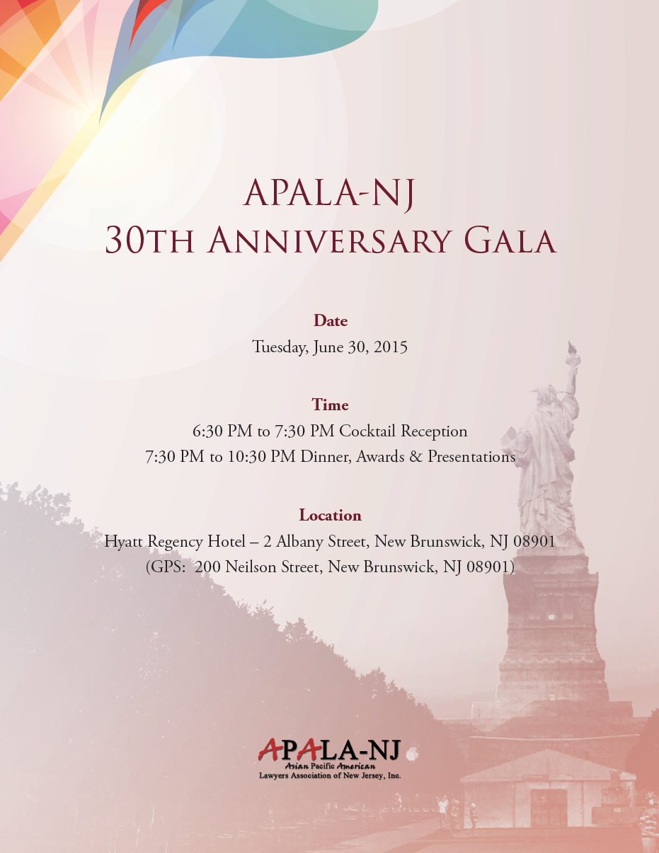 2015 APALA-NJ Gala Invitation